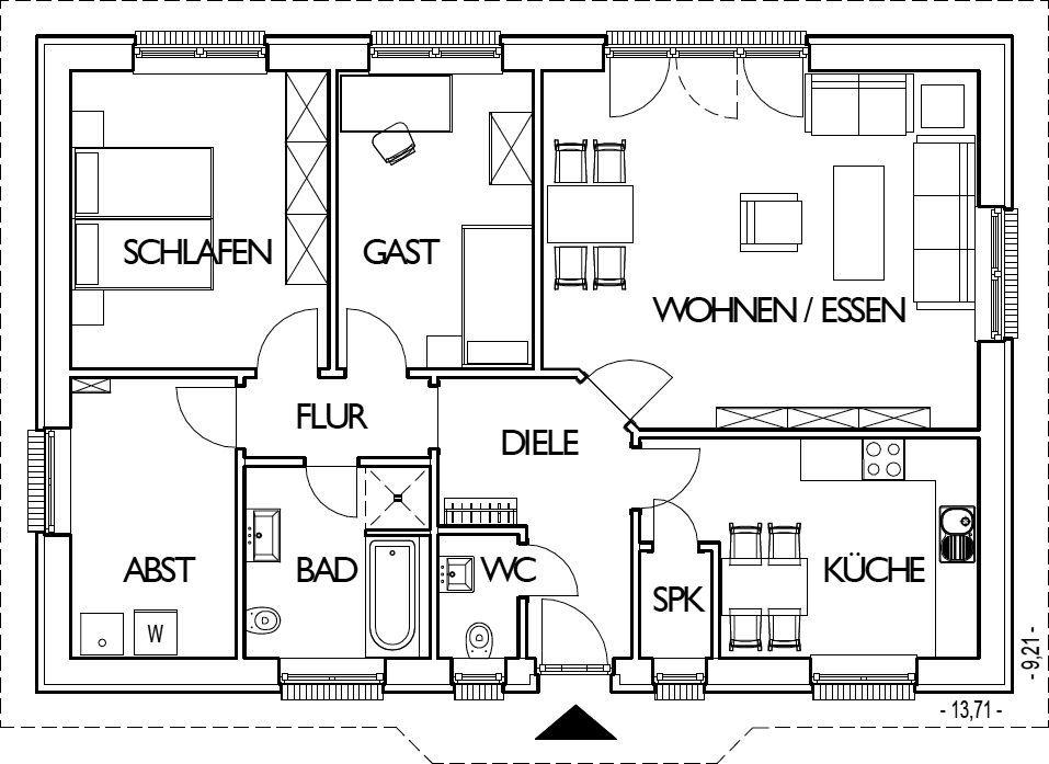 Bungalow Grundriss Erdgeschoss mit 99,49 m² Grundriss