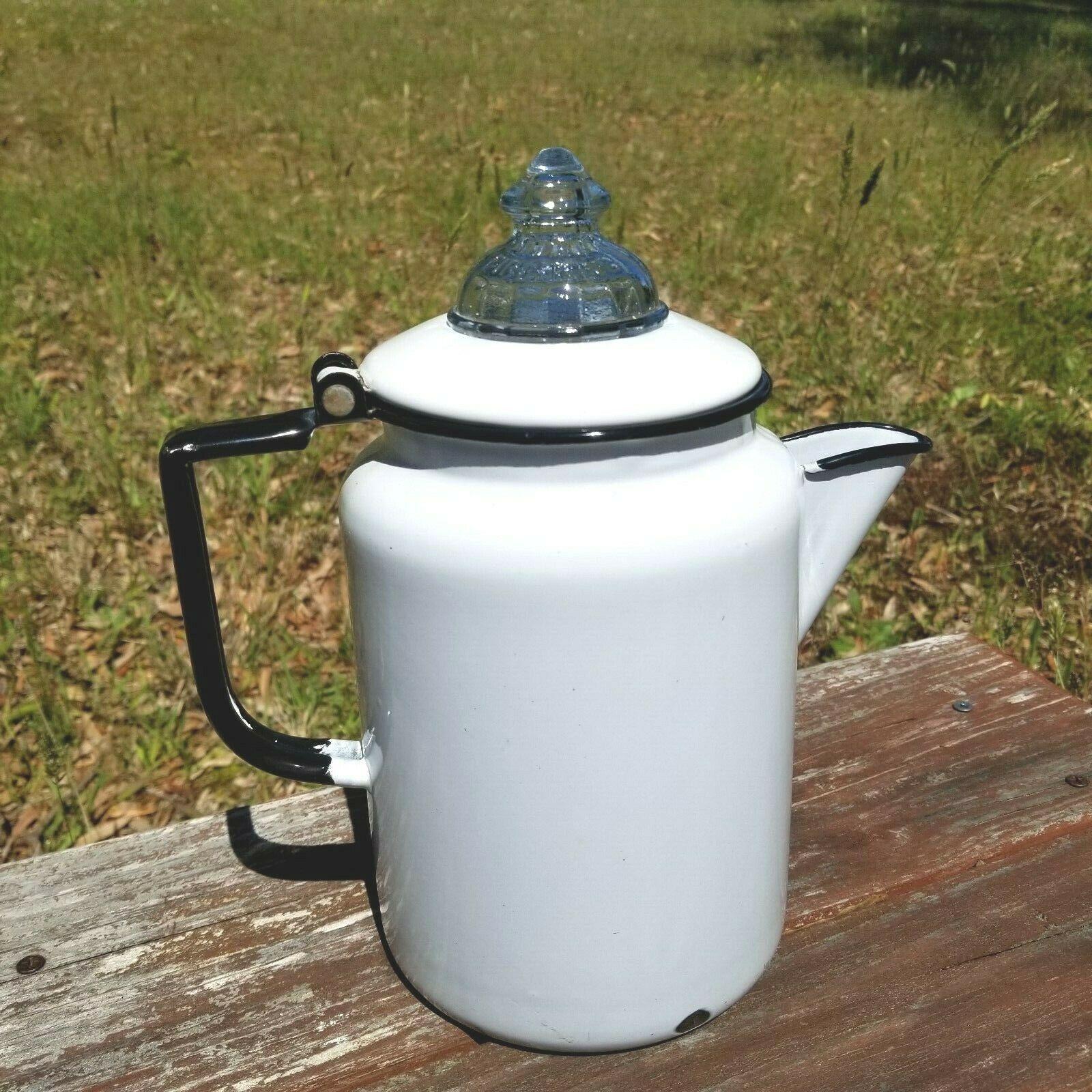 Vintage White Enamel Coffee Pot Black Handle Glass Fire