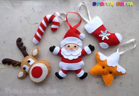 Addobbi Natalizi Pannolenci.5 Decorazioni In Feltro Per Albero Di Natale Felt Ornaments Christmas Tree Felt Ornaments Felt Christmas Ornaments Felt Decorations
