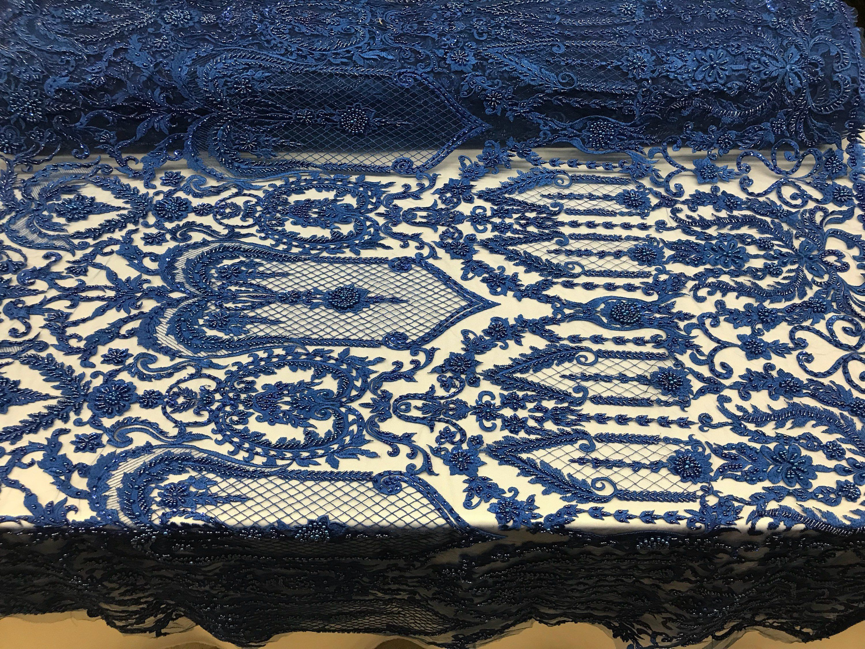 Beaded fabric by the yard royal blue lace heavy beads for bridal