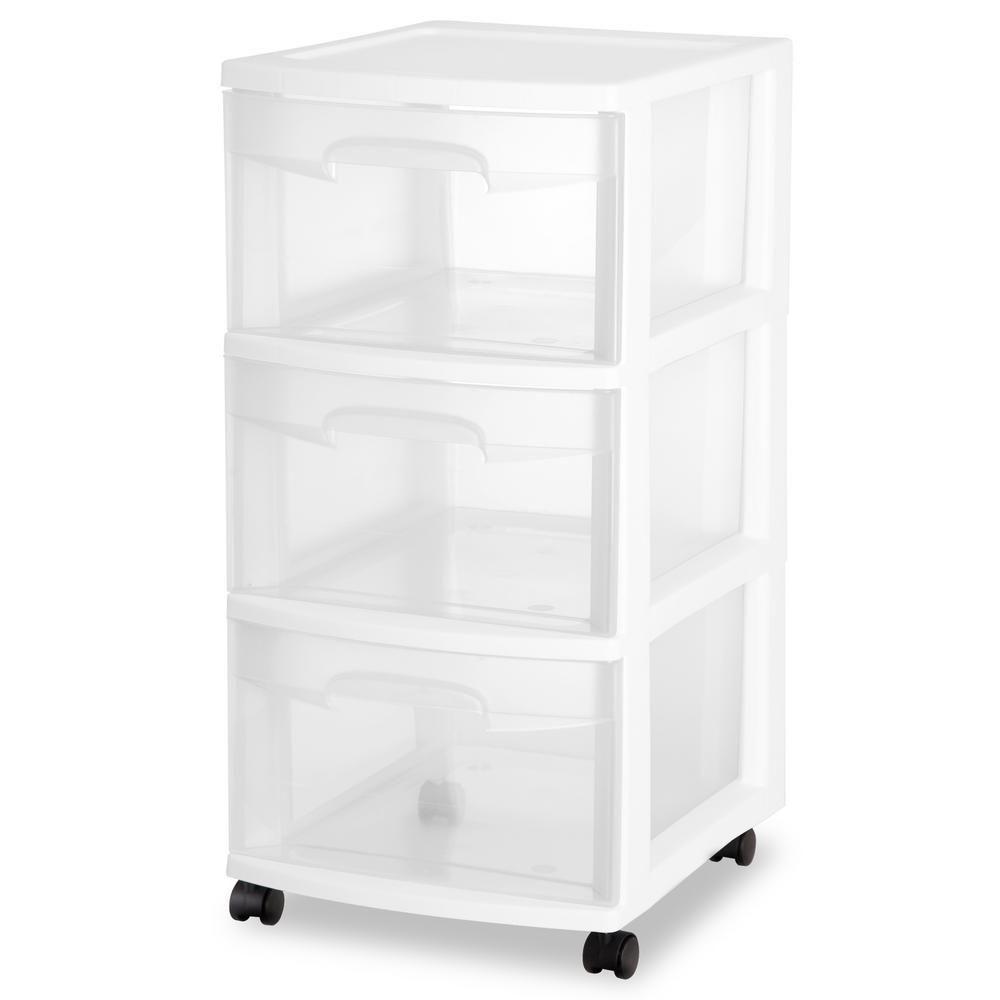 Sterilite 3 Drawer Medium Cart White Tall Cabinet Storage
