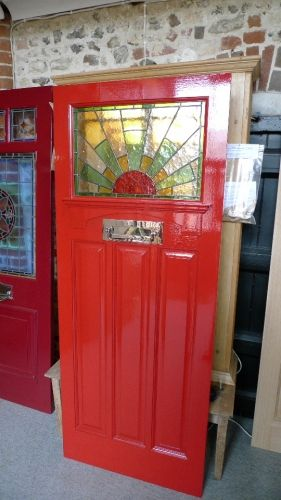 1930 S Stained Glass Front Door Sunburst Stained Glass Doors Company In 2020 Stained Glass Door Glass Front Door Red Front Door