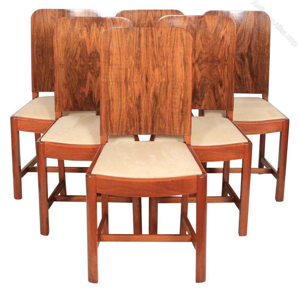 Stunning Set Of 6 Art Deco Walnut Dining Chairs - Antiques Atlas - Stunning Set Of 6 Art Deco Walnut Dining Chairs - Antiques Atlas