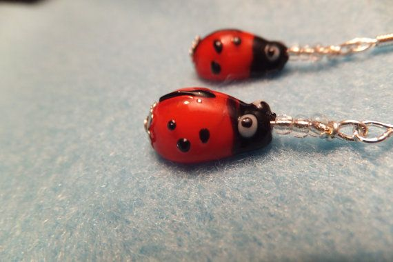 LADYBIRD LADYBUG EARRINGS  Made From Red and by Neckcessorize