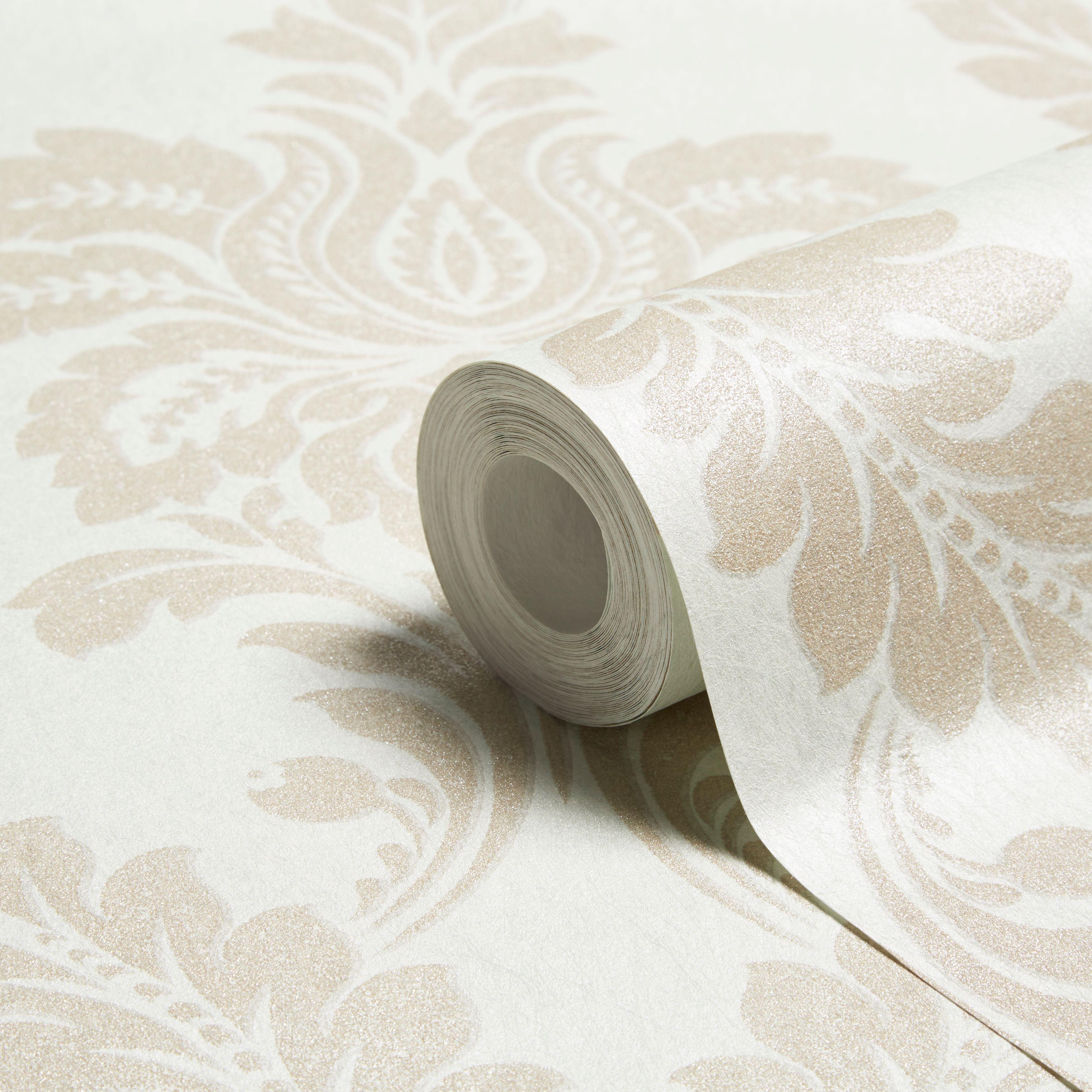GranDeco Glitter Damask Wallpaper In Cream Lounge Pinterest