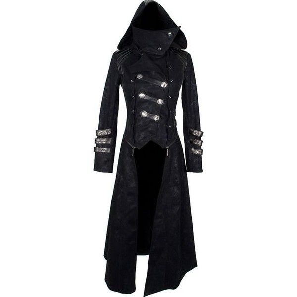 Women Gothic Victorian Genuine Leather Black Women Goth Coat
