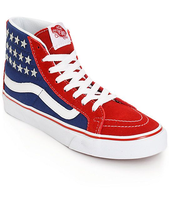 10a468a22c Get classic in patriotic fashion with these high top shoes that feature an  American inspired red