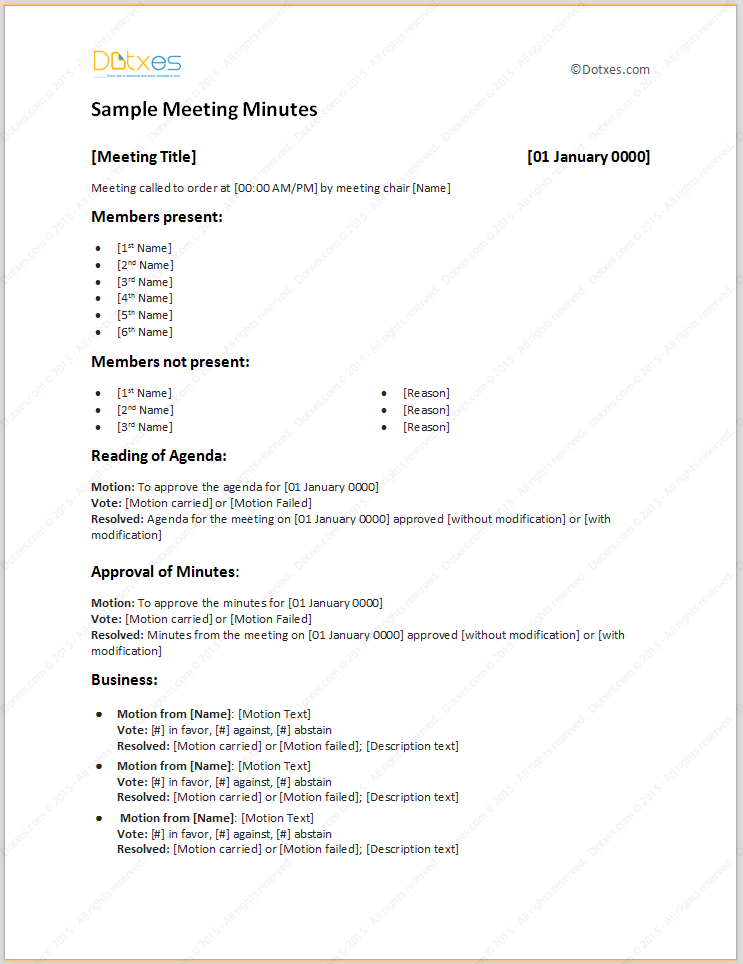 sample meeting minutes template p t a sample resume meeting