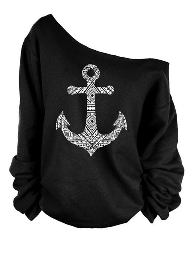 e495423cb2c Most Popular One Shoulder Printed Long Sleeve T-shirts