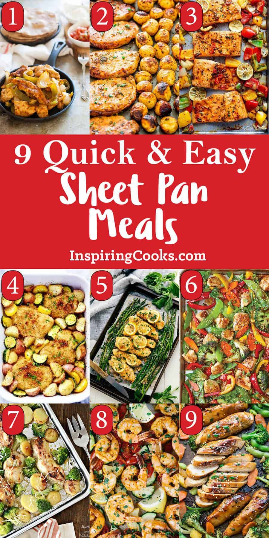 9 of the Best Sheet Pan Meals Recipes on Pinterest images
