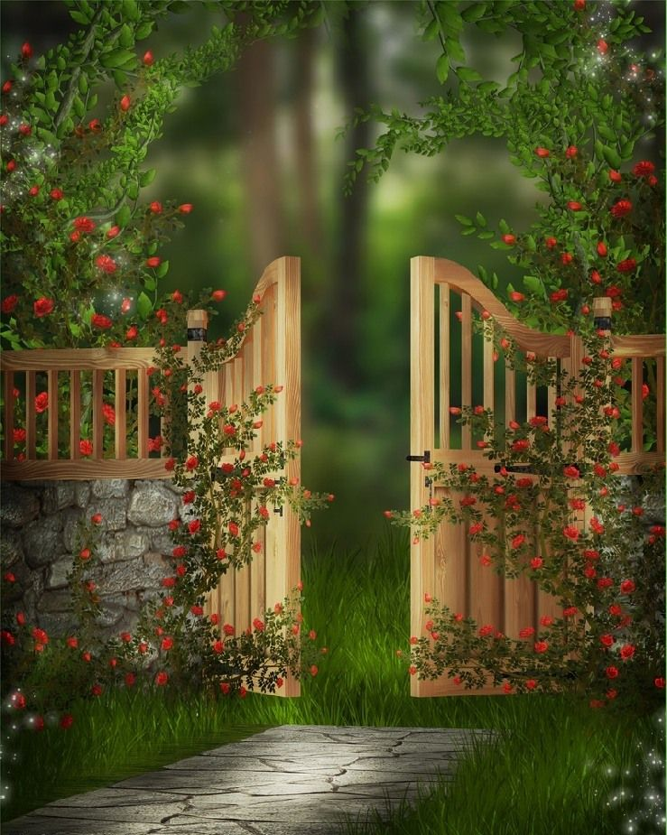 Wooden Garden Gates   Stone Fence With Wooden Top