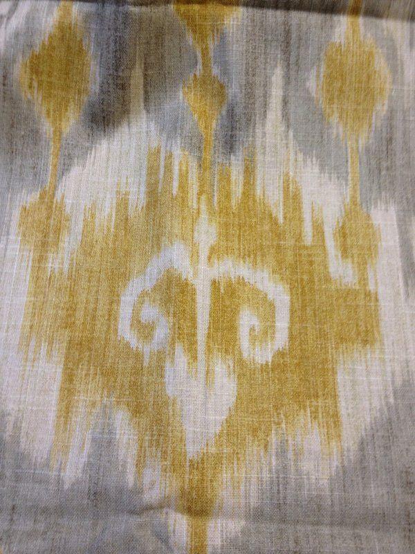 Yellow And Gray Ikat Fabric | Sevenstonesinc.com