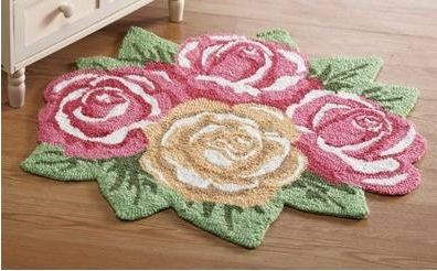 Rose Flower Shaped Pink Yellow Pastel Floral Decor Accent Floor Rug Door Mat