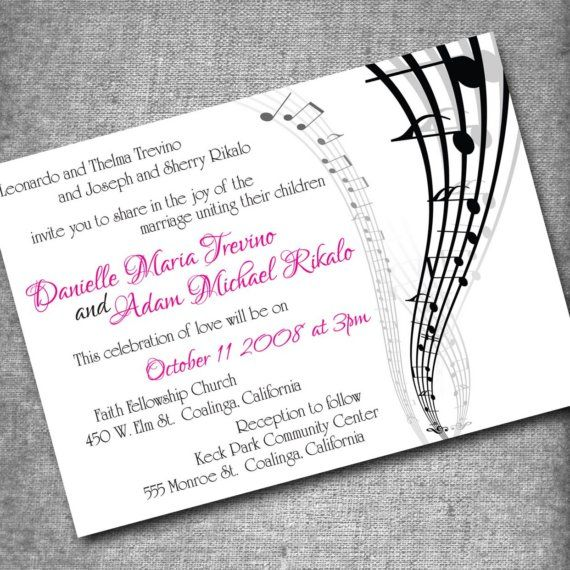 Story Wedding Ceremony Processional Music Song Ideas: Music Themed Parties, Invitations