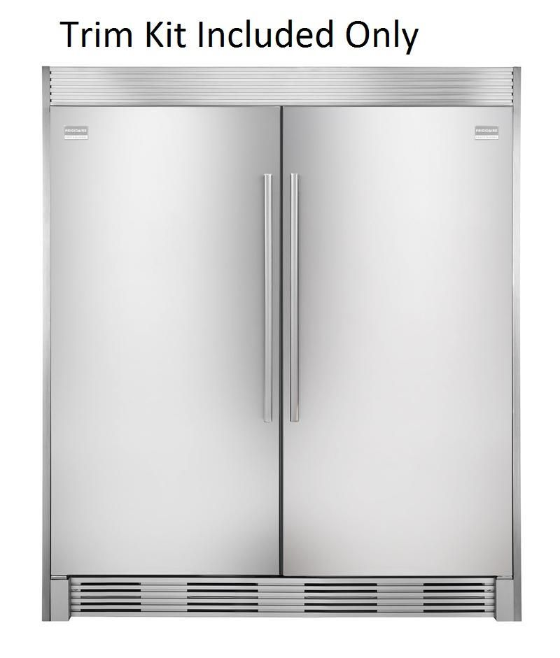 Frigidaire 64 Inch Side By Side Refrigerator And Freezer Set With Fgru19f6qf 32 Inch Right Hinge Refrigerator Fgfu19f6qf 32 Inch Left Hinge Freezer And Trim Ki Frigidaire Professional Refrigerator Frigidaire Professional Refrigerator