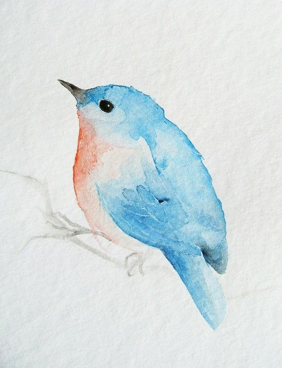 Blue Bird Watercolour By Poteidia Watercolor Bird Watercolor