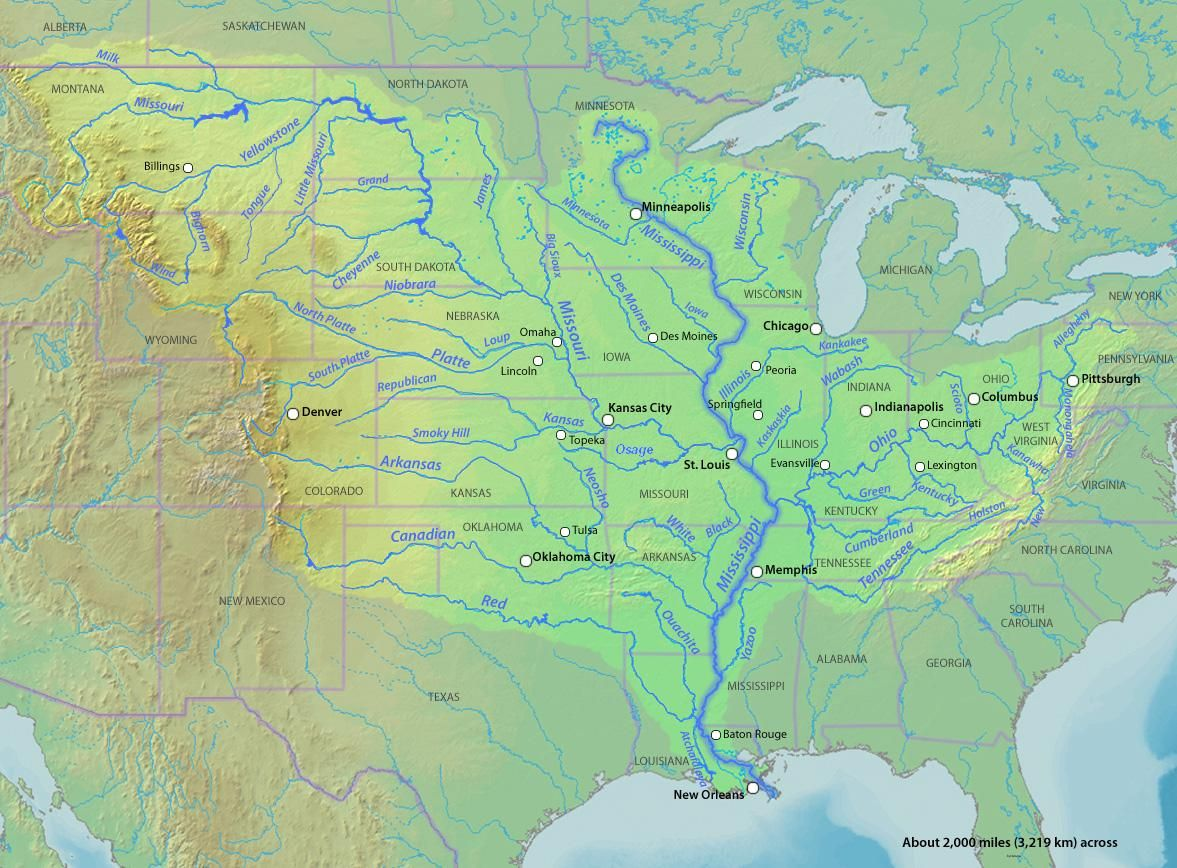 The Largest Watershed In North America The Mississippi River - United states rivers map