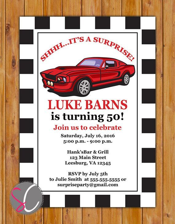 Adult Surprise Classic Car Birthday Retirement Party Invite Red Car Checker Muscle Invitation 50th 60th Birthday 5×7 Digital JPG File (573)
