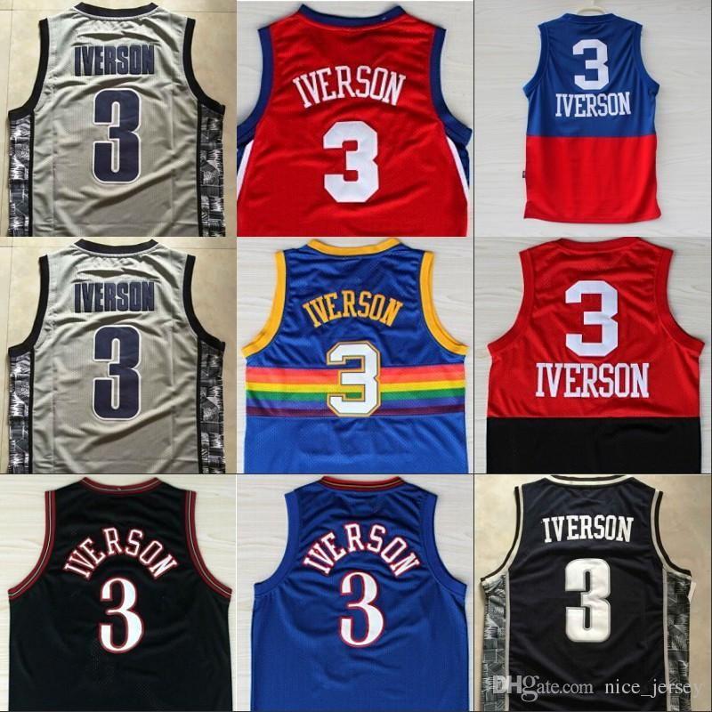 super popular e84cd 080b6 Retro Shirt Cheap Men's #3 Allen Iverson Jerseys USA Alll ...
