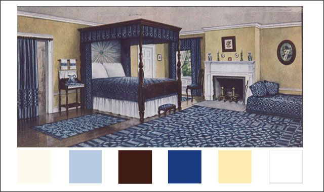 1910 Colonial Bedroom Ivory For Woodwork Light Blue Dark Brown In The