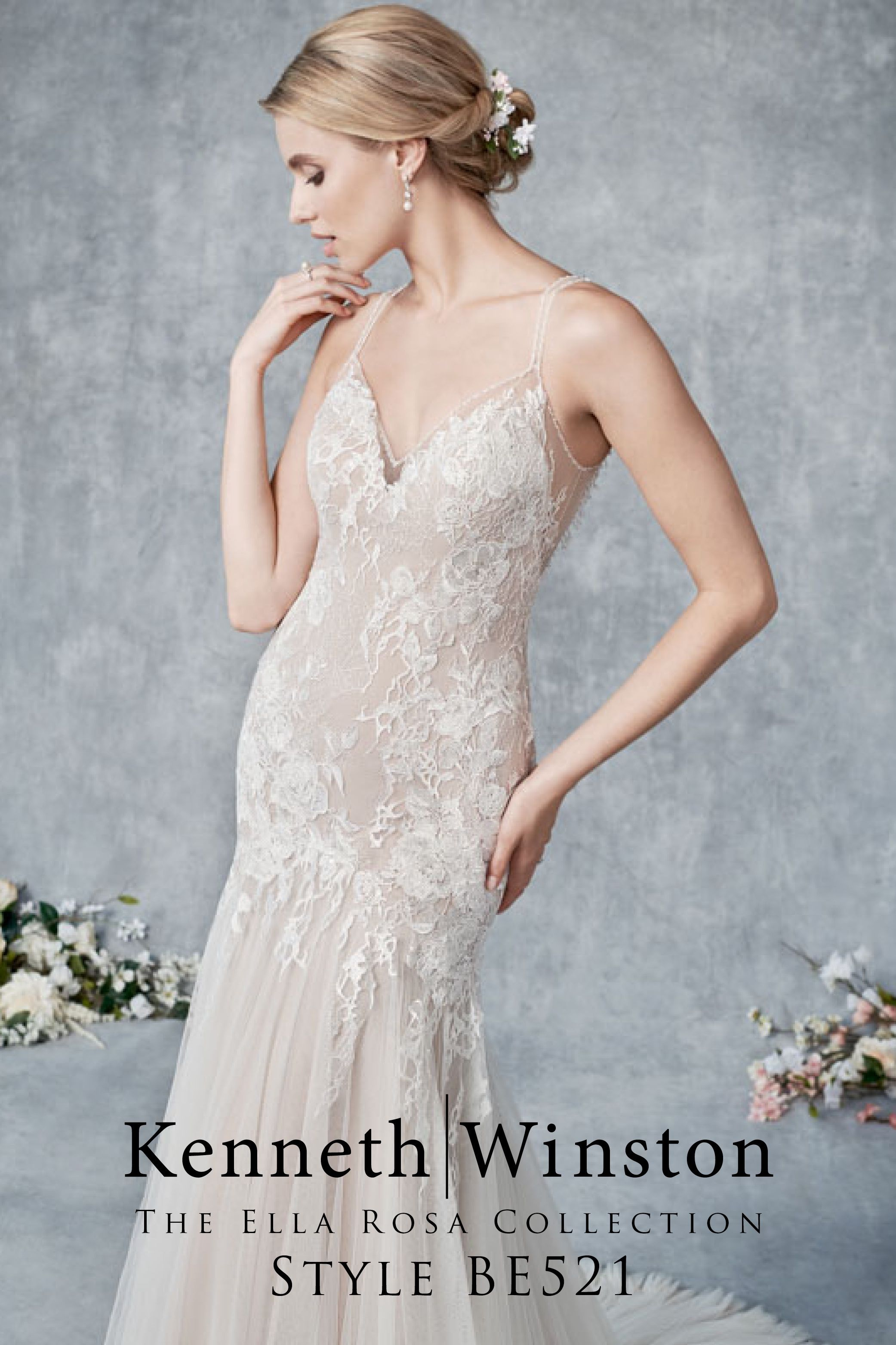 Soft Tulle Mermaid Wedding Dress with Beaded Straps and
