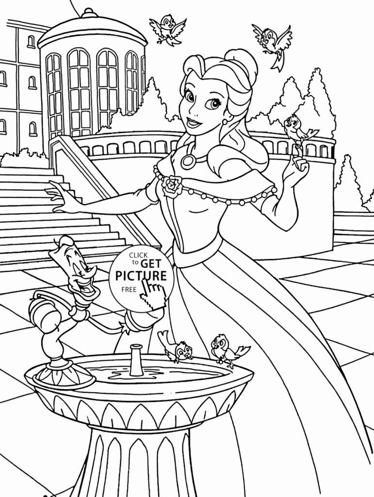 Princess Unicorn Coloring Page Elegant Coloring Coloring Page Princess Bell In The Castle For Buku Mewarnai Disney Gambar