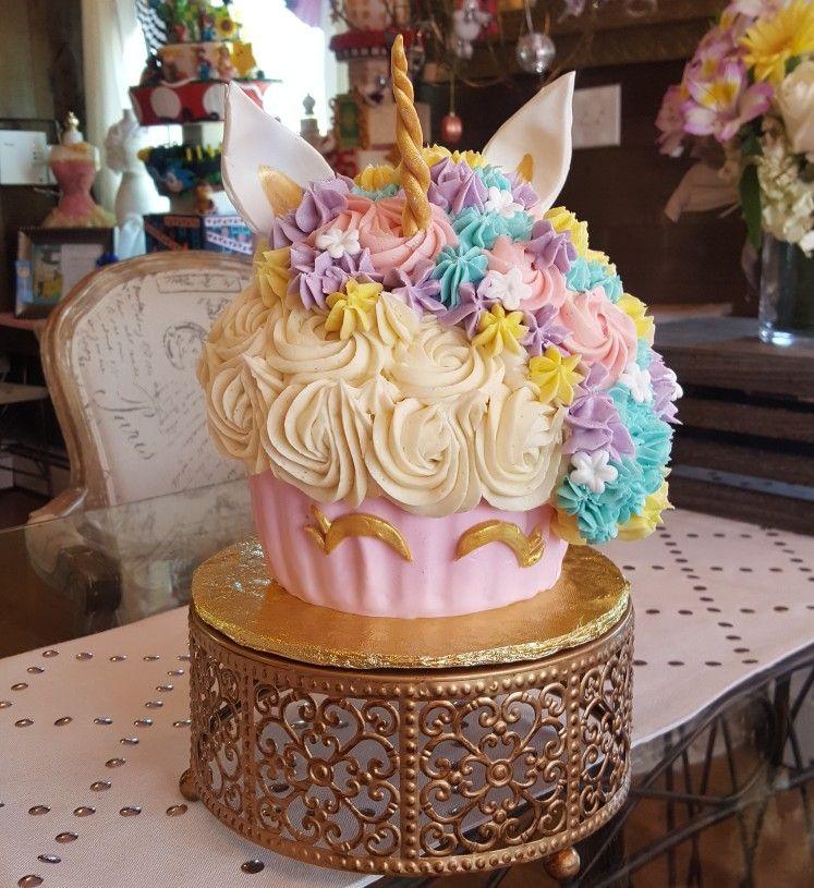 Unicorn Giant cupcake cakes Pinterest Giant cupcakes