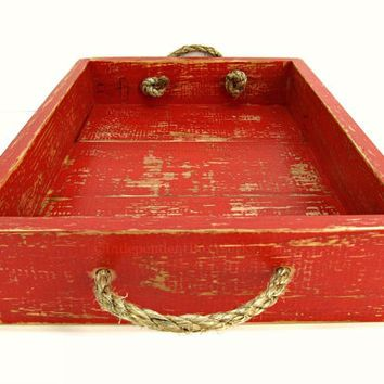 Painted Red Wooden Tray With Rope Handles Distressed Ottoman Weathered Serving