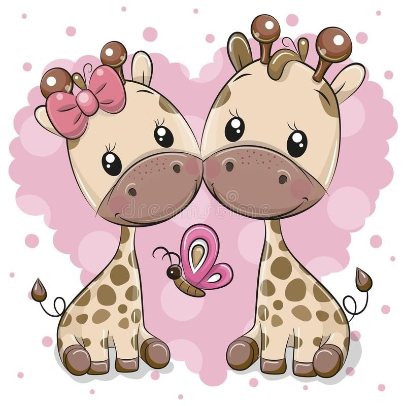 a1155509b17 Photo about Two cute Cartoon Giraffes on a heart background. Illustration  of childbirth