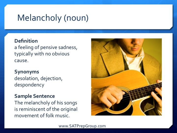 Word of the Day MELANCHOLY! Use this vocabulary flashcard to