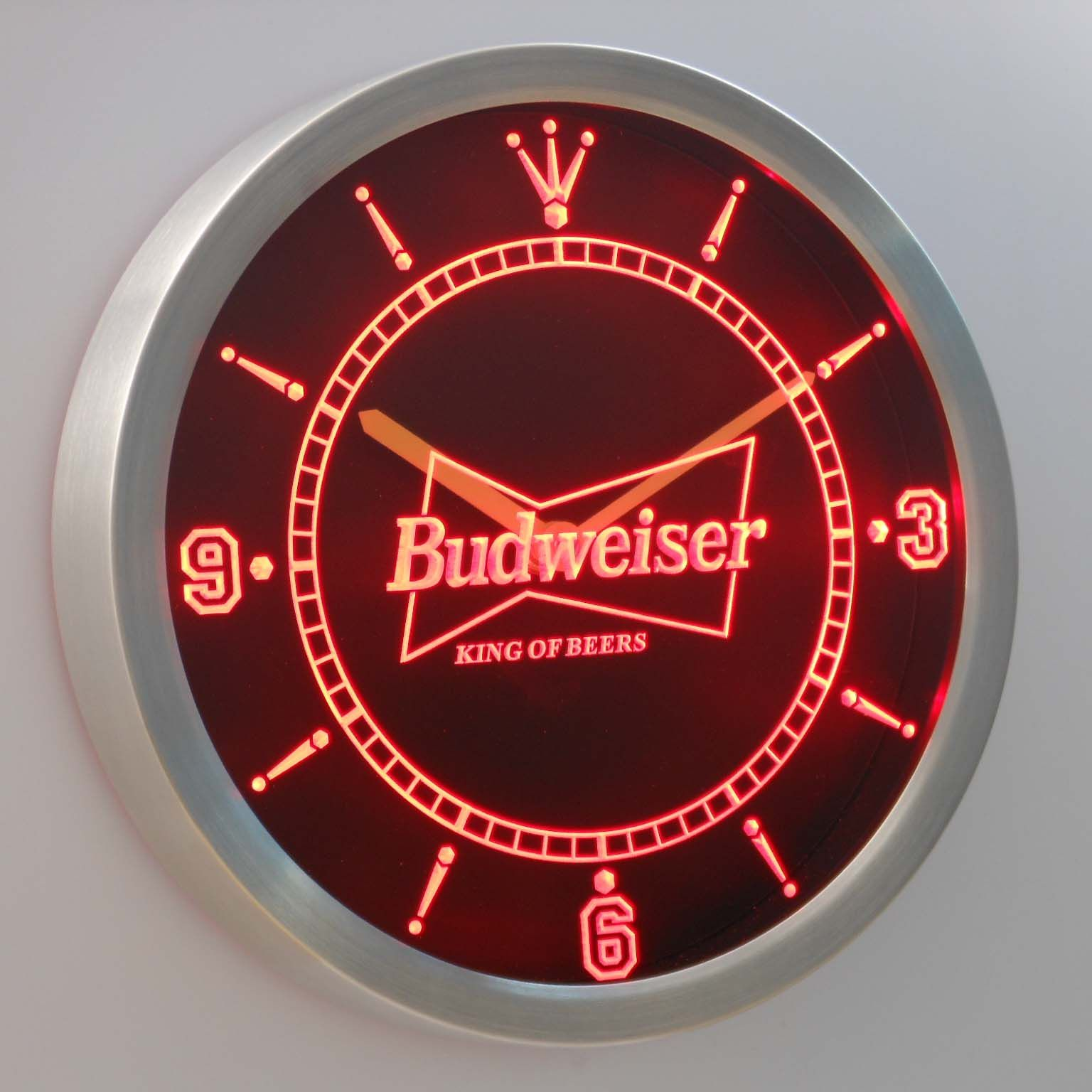 Nc budweiser beer neon sign led wall clock home decor