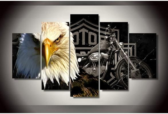 Unframed Hd Printed Eagles Motorcycle Canvas Painting On The Wall