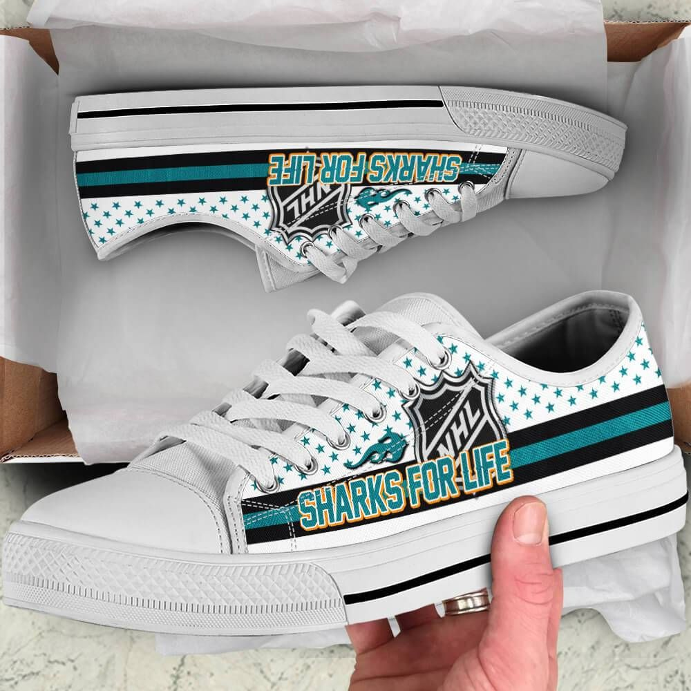 San Jose Sharks Legend Since 1991 NHL Hockey Teams White Low Top Shoes - Teeqq Store