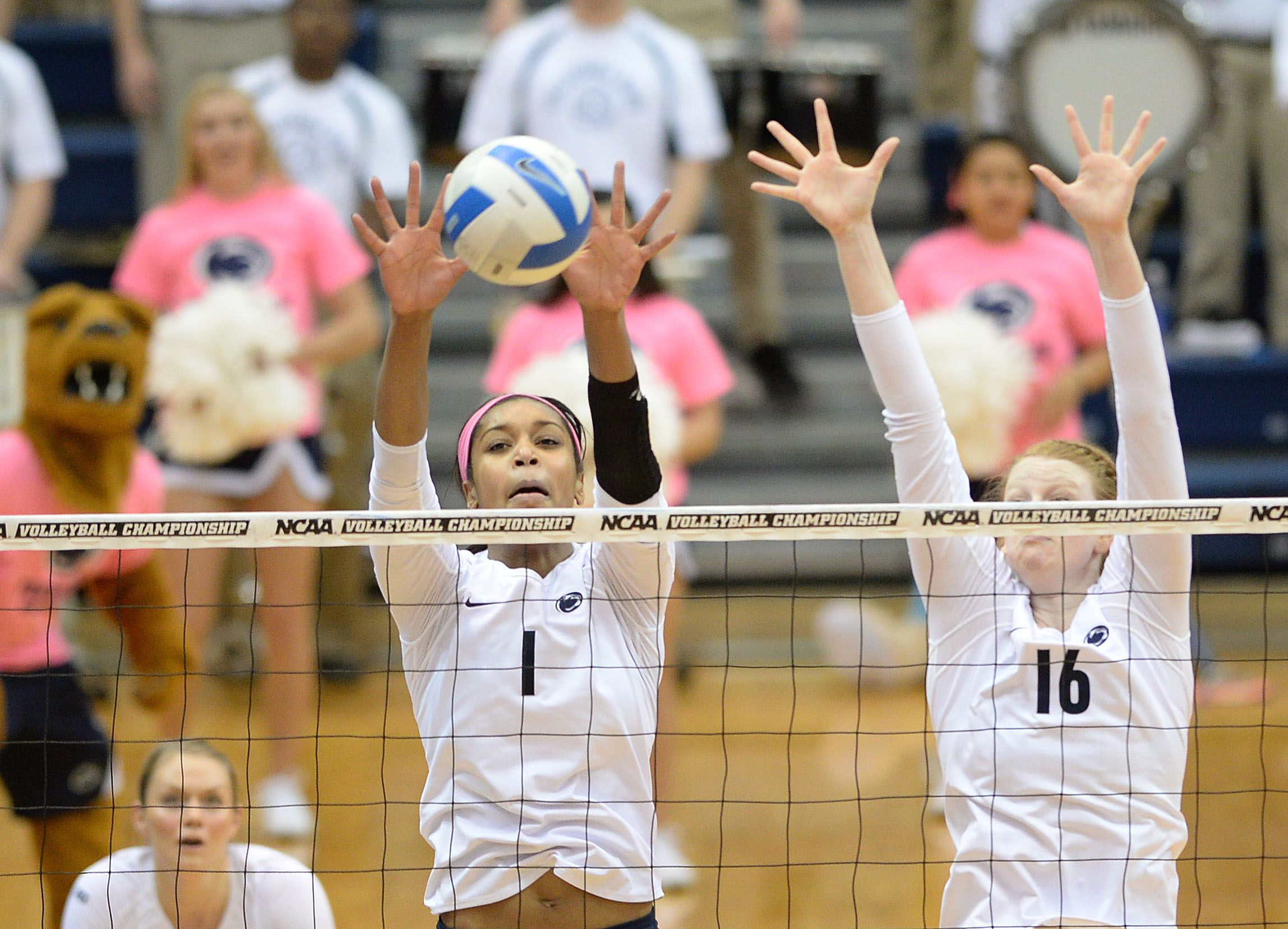 Micha Hancock Booms One Of Her Serves Ariel Scott And Katie Slay Block Shot At Net And Deja Mccle Penn State Volleyball Penn State Athletics Penn State Sports