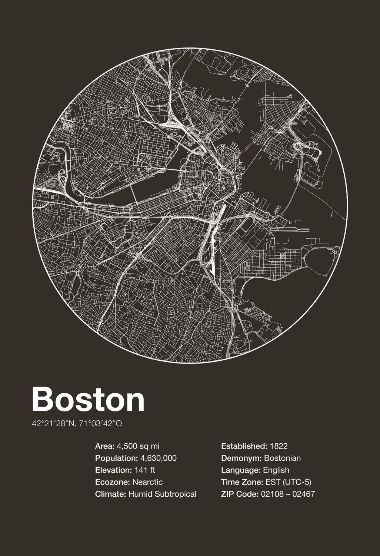 Karte Map Boston Massachusetts Vereinigte Staaten Von