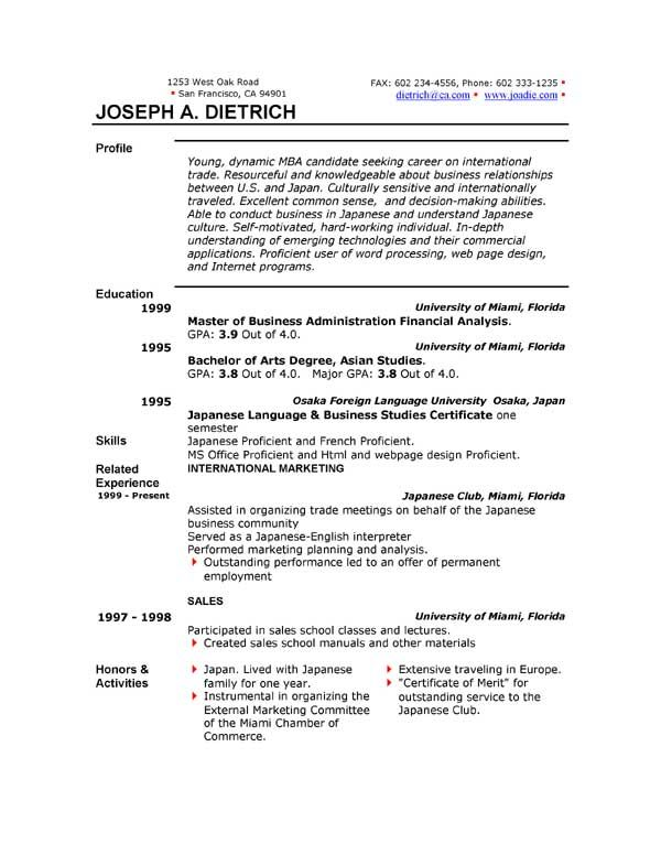 sample resume templates word ~ Gopitch.co