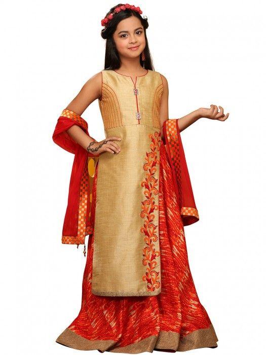 5155e027c6d602 Girls Salwar Kameez in Lehenga Style Bottom
