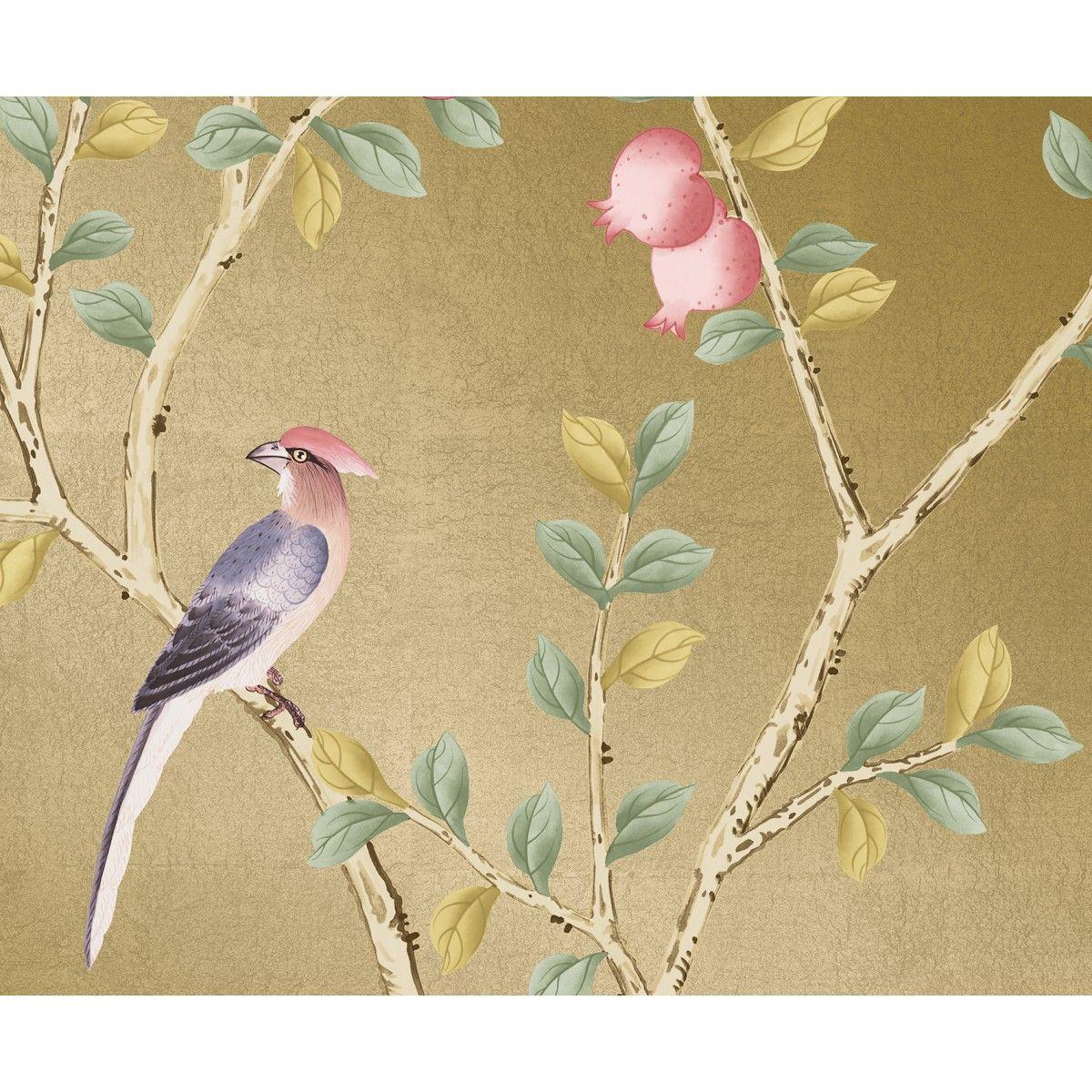 CHINOISERIE Pomegranate Metallic Gold Tempaper Designs