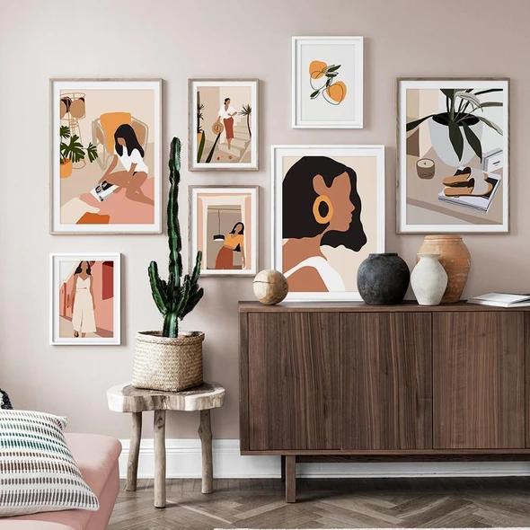 Vintage Girl Canvas Art Abstract Art Graphic Wall Art Minimalist Wall Art Art Gallery Wall