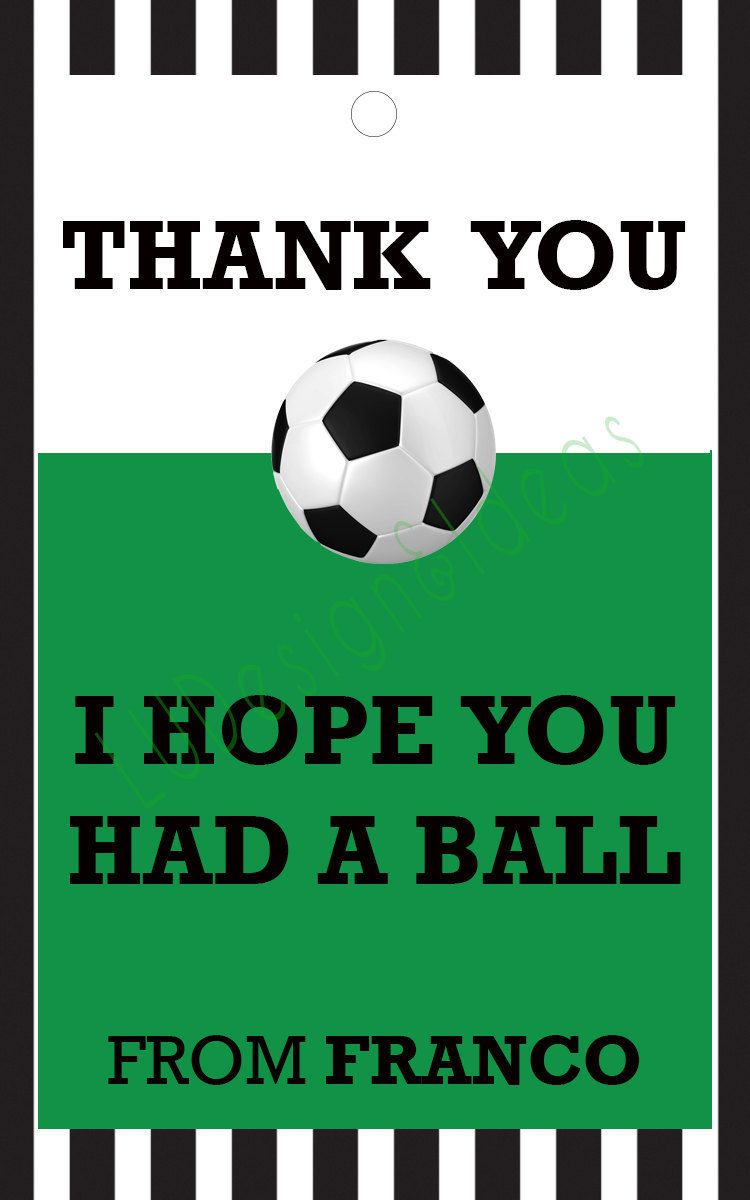 Thank You Card For Party Favors Soccer Theme Soccer Birthday Parties Thank You Card Template Soccer Party