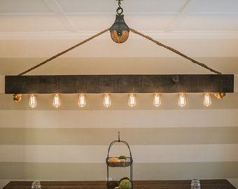 4 ft rustic beam edison bulb chandelier with vintage barn pulley aloadofball Image collections