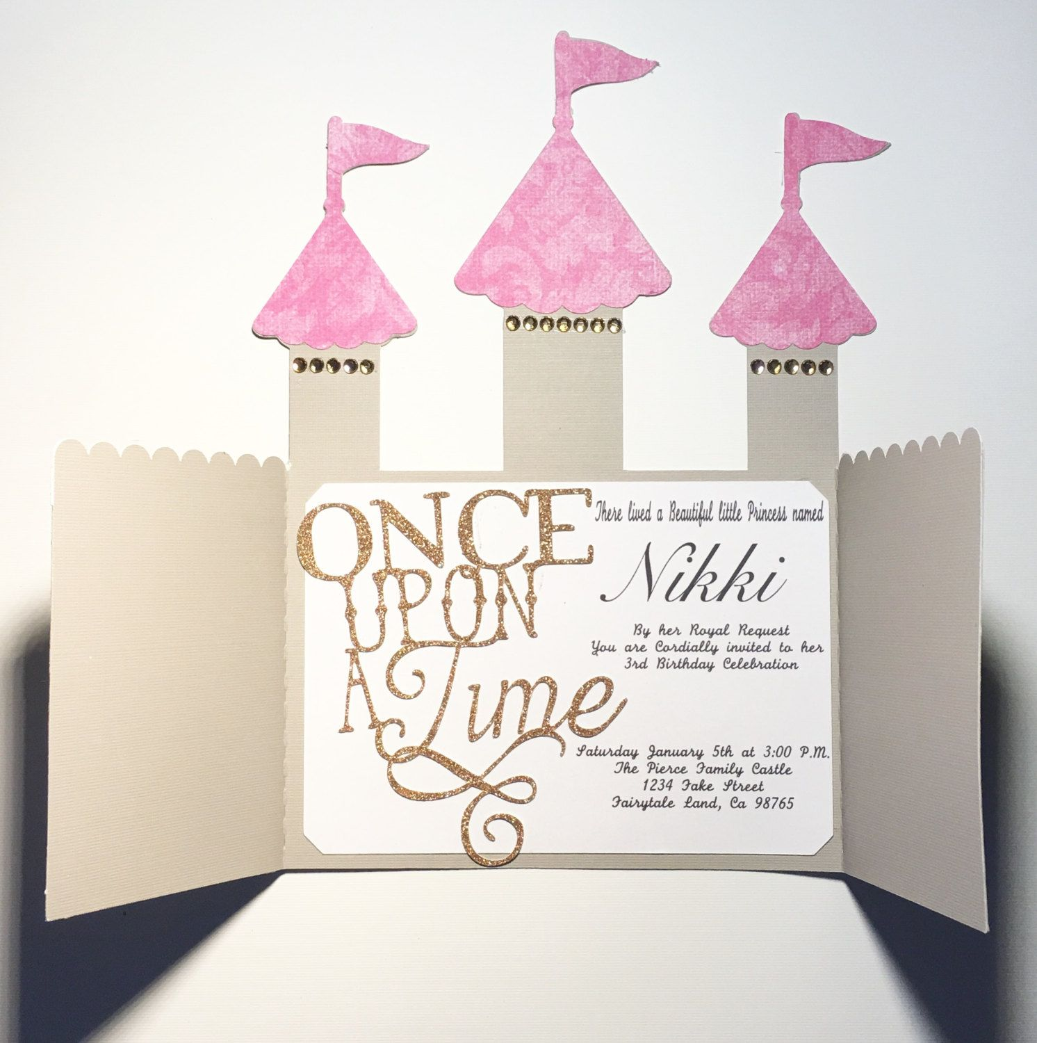 Once Upon A Time Birthday Party Invitations Castle Party