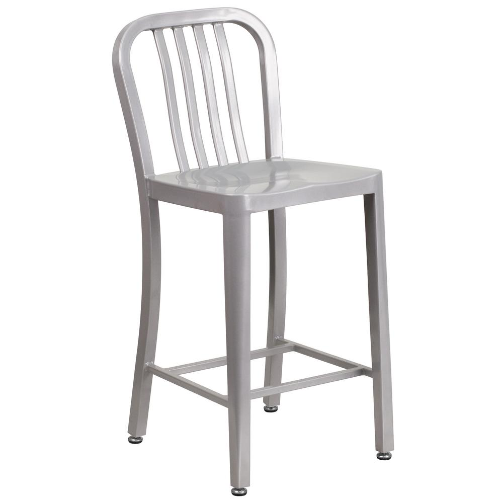 High Silver Metal Indoor Outdoor Counter Height Stool With Vertical Slat Back