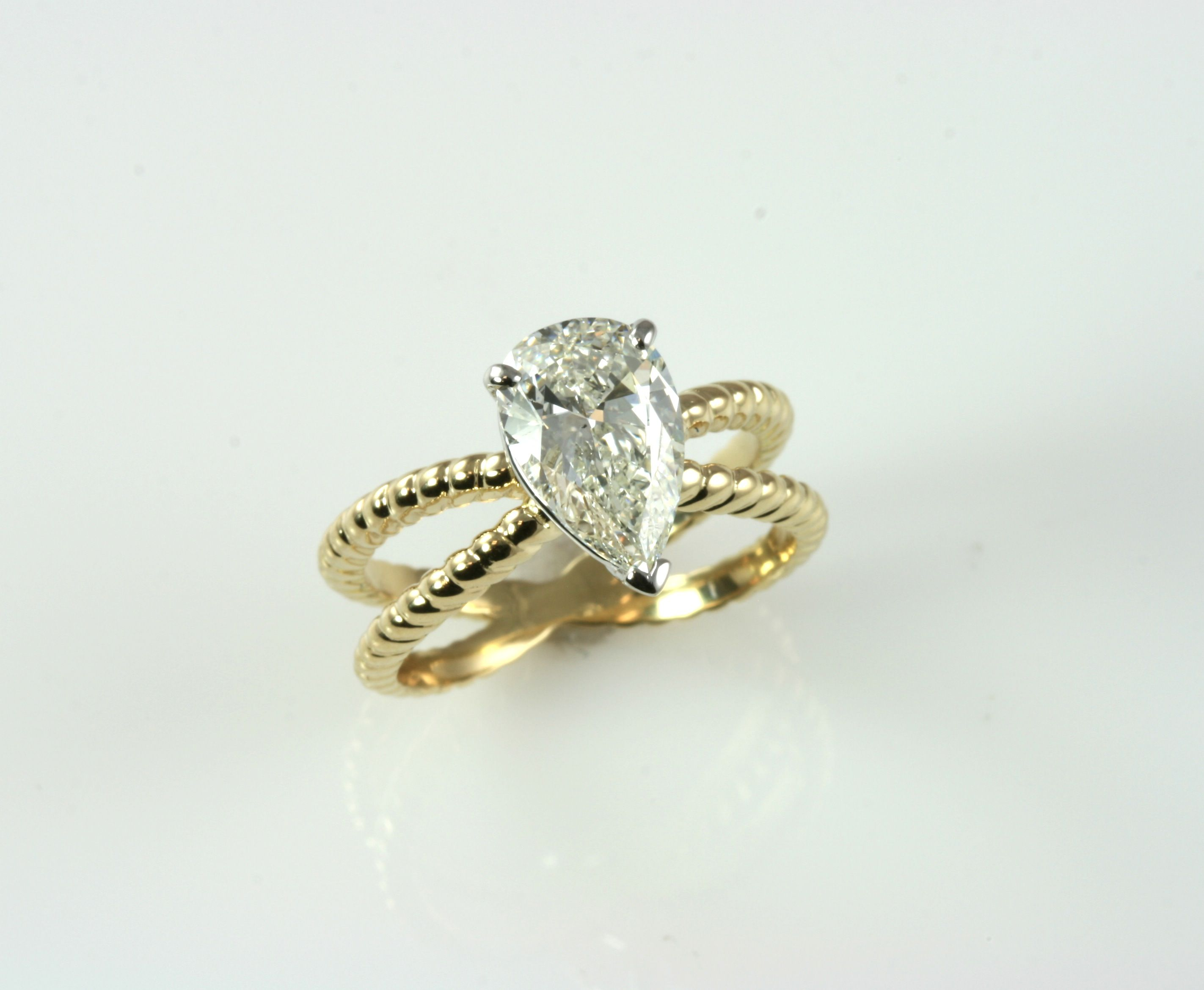 New k two tone twisted rope split shank engagement ring custom made for customer us pear shape