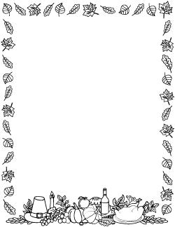Black And White Thanksgiving Border Clip Art Borders Borders For Paper Fall Borders