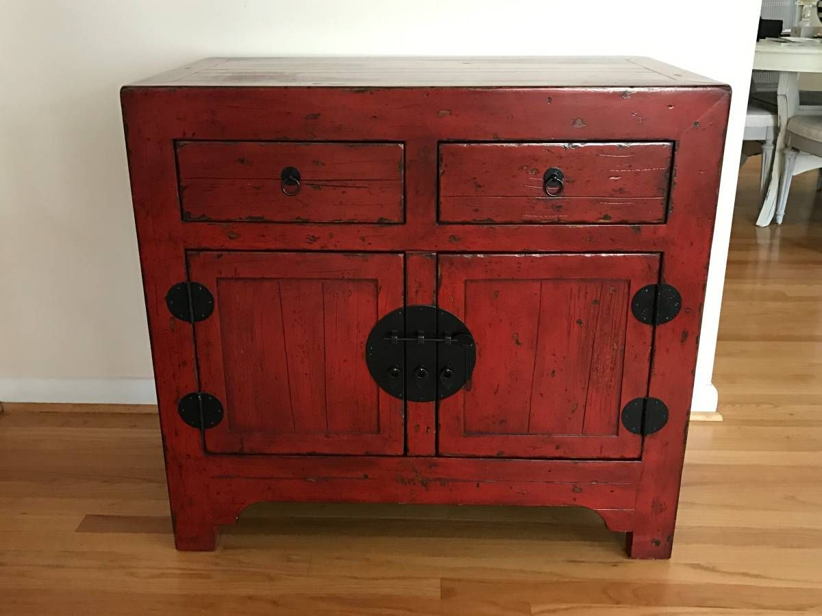 pottery barn emmett console table cabinet cupboard ming red measures wide deep and tall
