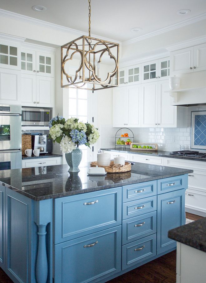 Stunning Traditional White Kitchen With Blue Island The Blue Island Was Sprayed Kitchen Renovation Kitchen Remodel Kitchen Inspirations