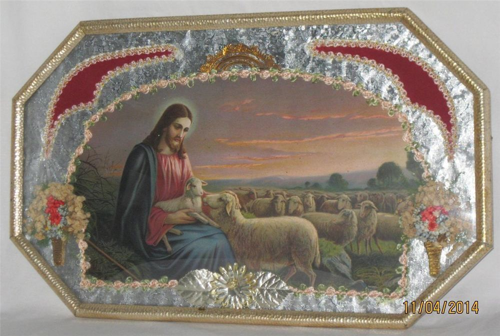 """ANTIQUE RELIGIOUS CONVEX BUBBLE GLASS """"Christ the Shepard"""" Picture Wall Hanging #Unknown"""