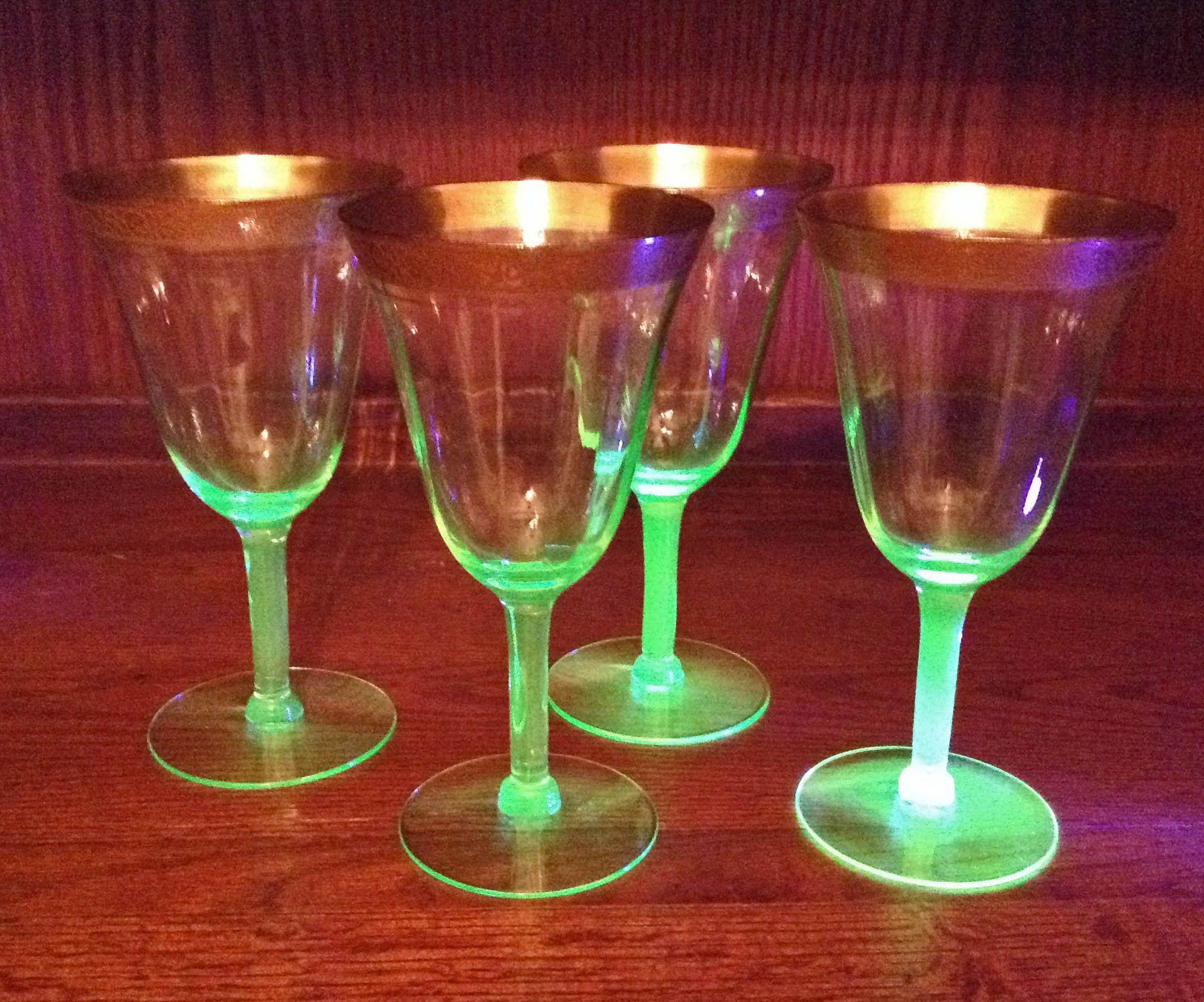 4 Vaseline Gold Encrusted 6 5 H Paneled Stemmed Gold Encrusted Glass Gold