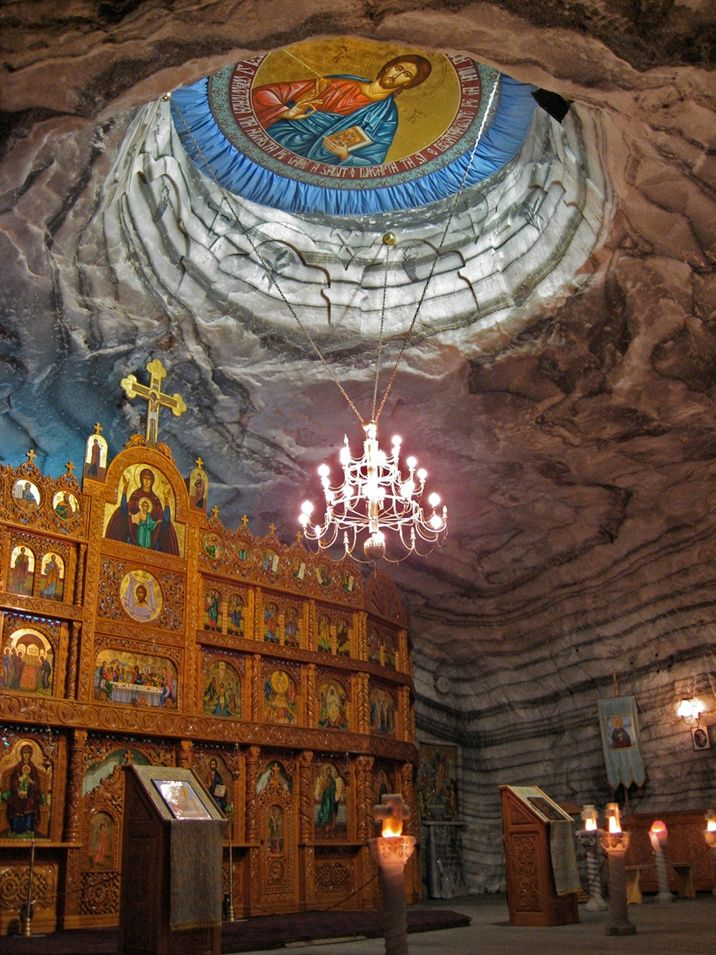 Church in Underground Salt Mine in Romania. Several hundred meters below ground, it was built for the workers of the salt mine and has been seen by very few people in the world.